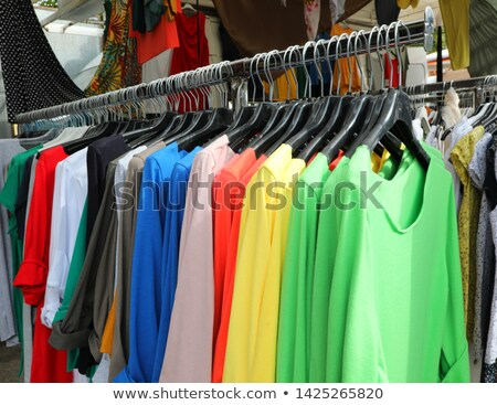 fabric on sale in a street market, filtered Stock photo © nito