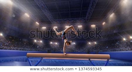 Lány akrobatikus szenzáció fiatal lány izolált fehér Stock fotó © deandrobot
