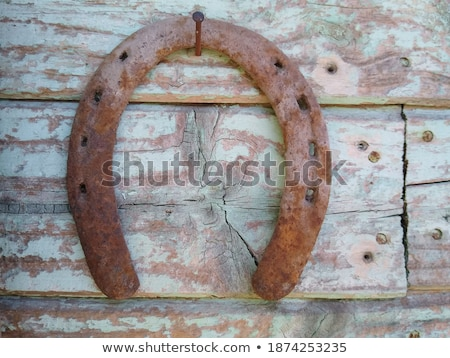 old horseshoe hanging on the wooden wall stock photo © mcherevan