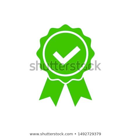 Certificado verde vetor ícone botão internet Foto stock © rizwanali3d