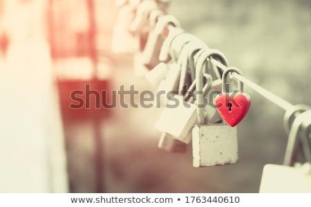 Stock fotó: Szeretet · lakat · korlát · híd · szív · felirat