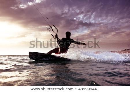 Foto stock: Pipa · surfista · pôr · do · sol · ilustração · homem · vento