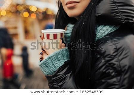 かなり 笑みを浮かべて 若い女性 編まれた ジャケット 飲料 ストックフォト © deandrobot