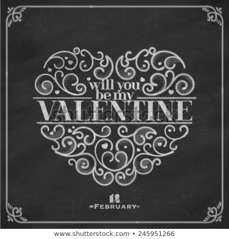 Tekening mijn Valentijn krijt bericht school Stockfoto © romvo