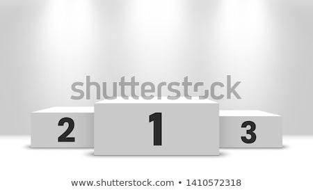 nyertesek · pódium · lány · ugrás · fehér · rajz - stock fotó © freesoulproduction