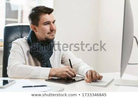 Boldog designer rajz terv számítógép toll Stock fotó © deandrobot