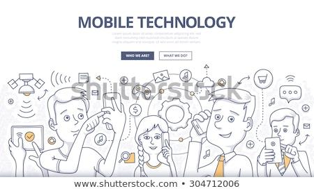 セット · 現代 · ワイヤレス技術 · 漫画 · スタイル · 青 - ストックフォト © davidarts
