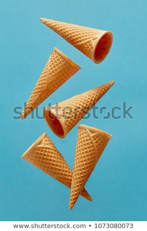 yumuşak · dondurma · gofret · koni · tatlı · sarı - stok fotoğraf © stevanovicigor