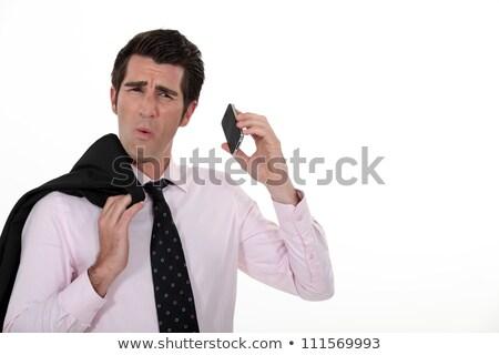 üzletember elvesz rossz telefonbeszélgetés izolált fehér Stock fotó © deandrobot