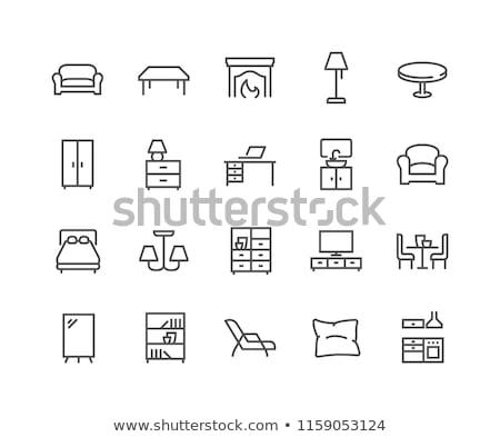 háztartás · vonal · kör · terv · készülékek · izolált - stock fotó © rastudio
