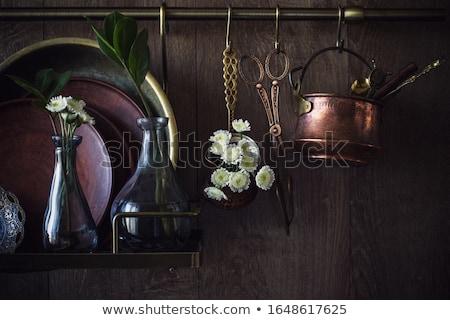 натюрморт антикварная посуда продовольствие вино рыбы Сток-фото © Digifoodstock