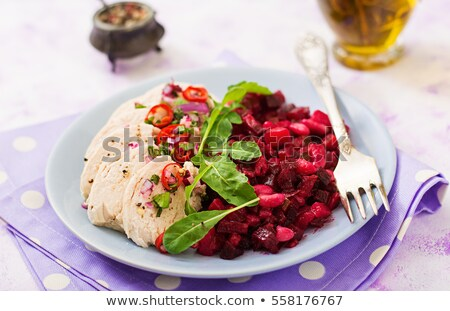 Pechuga de pollo rojo frijoles rebanadas hojas carne Foto stock © Digifoodstock