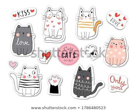 Drôle chatons illustration couleur pour aquarelle croquis chat Photo stock © ConceptCafe