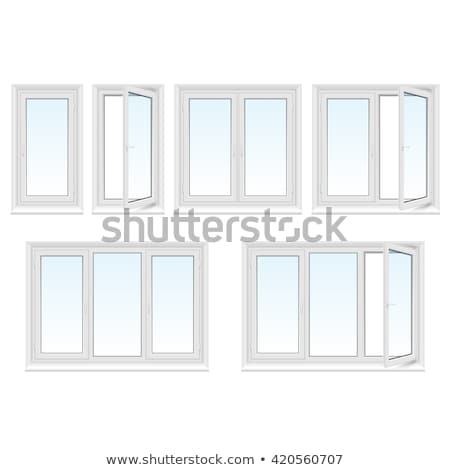 Closed Window Frame : Closed window frame on light blue background stock photo