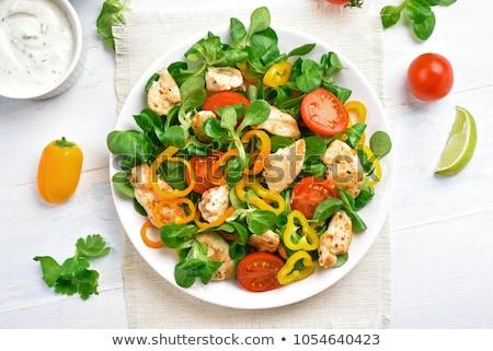 Tyúk zöldség saláta vegyes darabok grillcsirke Stock fotó © Digifoodstock
