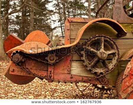 Elhagyatott öreg rozsdás fém részlet vasaló Stock fotó © meinzahn