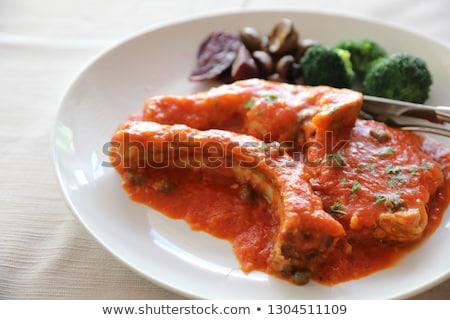 domuz · eti · beyaz · plaka · yağ · akşam · yemeği - stok fotoğraf © digifoodstock