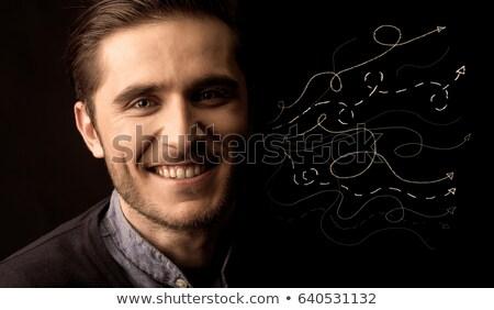 Depressiv reifer Mann Denken dunkel Seitenansicht dachte Stock foto © tab62