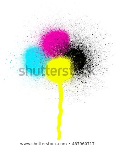 CMYK graffiti leaking drip sprayed element over white Stock photo © Melvin07