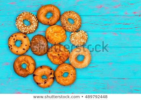 Circular arrangement of freshly baked bagels Stock photo © ozgur