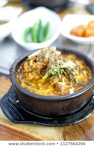 Gekruid varkensvlees rib soep tabel diner Stockfoto © vichie81