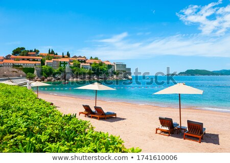 Luxury Sand Beach near Island and Resort Sveti Stefan, Montenegro. Balkans, Adriatic sea, Europe. Stock photo © maxpro