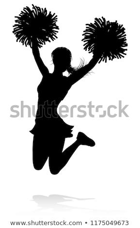Pompomlány pózol mosolyog néz kamera szürke Stock fotó © LightFieldStudios