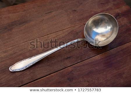 Bağbozumu Metal kepçe altın çorba beyaz Stok fotoğraf © Digifoodstock