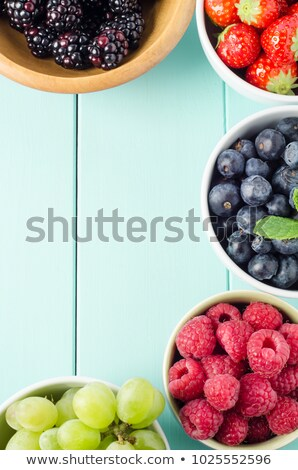 Fruit Varieties in Separate Bowls Overhead View Stock photo © frannyanne