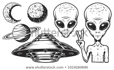 Alien face icon set, humanoid head, vector Stock photo © Andrei_