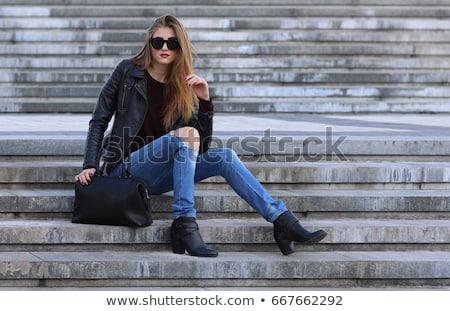 Hosszú lábak fekete farmer nadrág kő lépcsősor Stock fotó © Nobilior