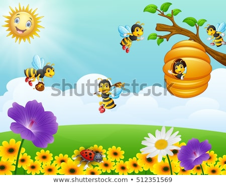 Bijen vliegen rond tuin illustratie natuur Stockfoto © bluering
