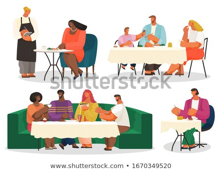 Barátok rendelés pincér étterem férfi ír Stock fotó © wavebreak_media