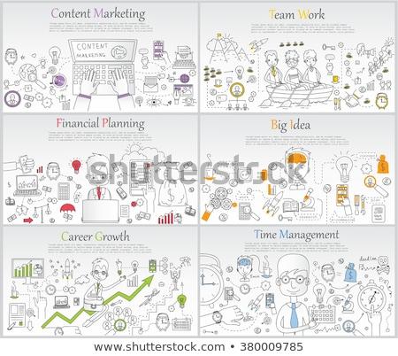 content marketing concept with doodle design icons stock photo © tashatuvango