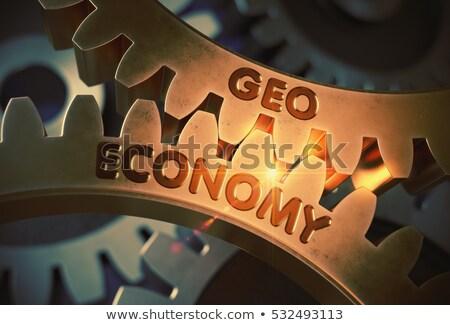 geo technology on the golden metallic cog gears 3d stock photo © tashatuvango