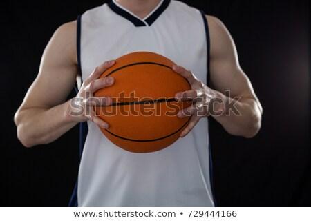 Középső rész játékos tart kosárlabda fekete sport Stock fotó © wavebreak_media