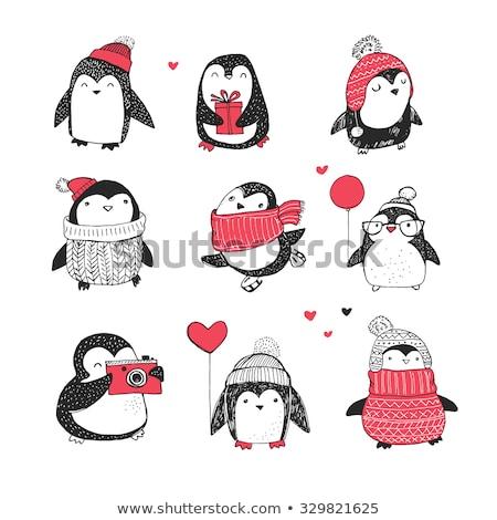 Cute hand drawn penguins set Stock photo © Olena