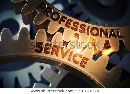 Golden Cog Gears with Business Consulting Concept. 3D. Stock photo © tashatuvango