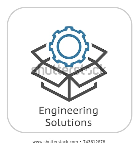 Engineering Solutions Icon. Gear and Cardbox. Product Symbol. Stock photo © WaD