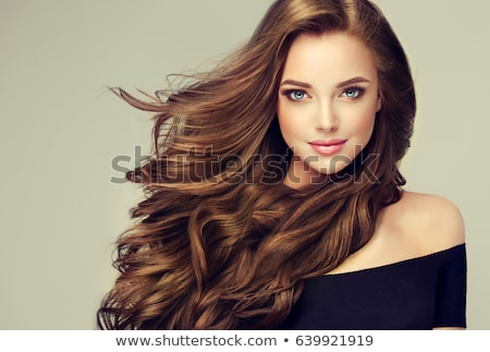 esmer · kadın · uzun · düz · saç · karanlık · güzel - stok fotoğraf © svetography