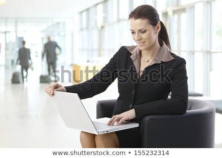 Nő lobbi bár gyönyörű nő ül iszik Stock fotó © Pilgrimego