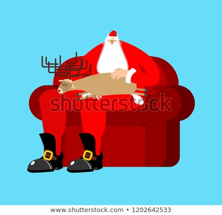 Santa Claus on chair stroking deer sleep. Christmas and New Year Stock photo © popaukropa