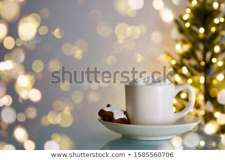Warme chocolademelk room star peperkoek bokeh ruimte Stockfoto © laciatek