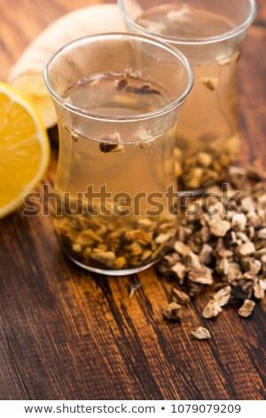 teaglass with yellowhead root tea stock photo © joannawnuk