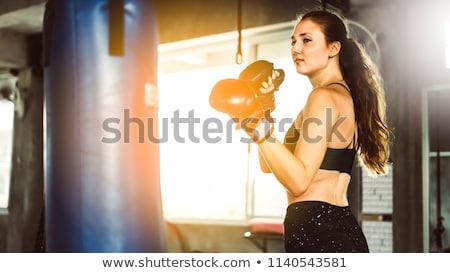 Női boxoló pózol homokzsák vonzó szőke nő Stock fotó © NeonShot