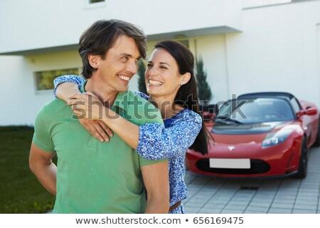 Paar elektrische auto vrouw auto vervoer Stockfoto © IS2