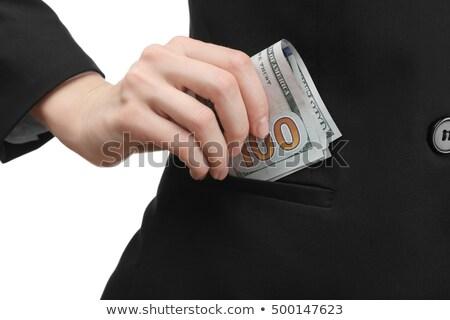 üzletasszony pénz zseb ázsiai rejtőzködik kabát Stock fotó © RAStudio