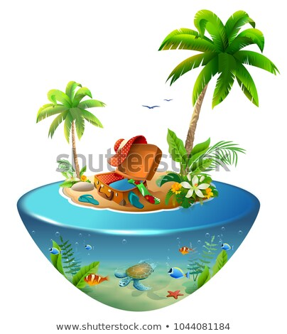 tropical island with palm trees in sea outdoor suitcase and clothes for beach holiday stock photo © orensila