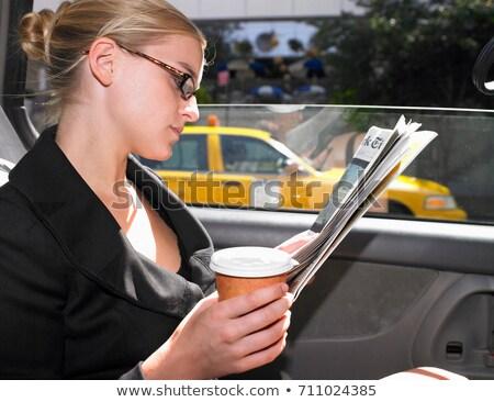 fiatal · nő · olvas · újság · iszik · reggel · kávé - stock fotó © is2