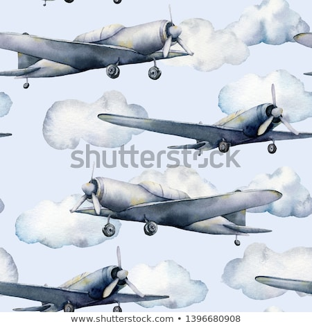 seamless pattern with propeller airplanes stock photo © studioworkstock